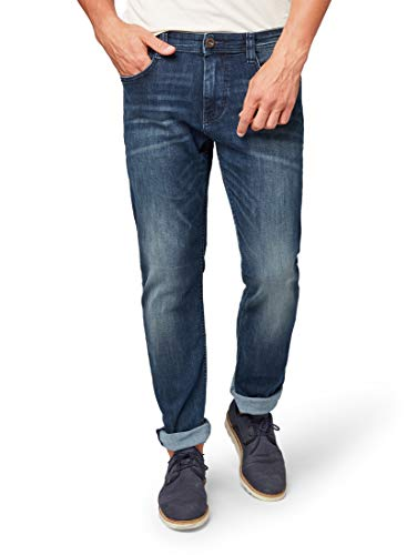 TOM TAILOR Herren Gewaschene 5Pocket Style, Marvin Slim Jeans, Blau (Dark Stone Wash Denim 1053), W30/L34 (Herstellergröße: 30)