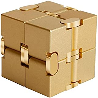 MingXinLong Finger Toy-Aluminium Alloy Infinity Cube,Pressure Reduction Toy,Anxiety Relief,Relaxation Office Stress Reducers for ADD, ADHD, Anxiety, Autism Adult & Kids (Gold, 1.51.51.5inch)