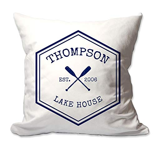 Pattern Pop Personalized Crossed Oars Family Lake House Throw Pillow Cover - 17X17 Throw Pillow Cover (NO Insert) - Decorative Throw Pillow Cover