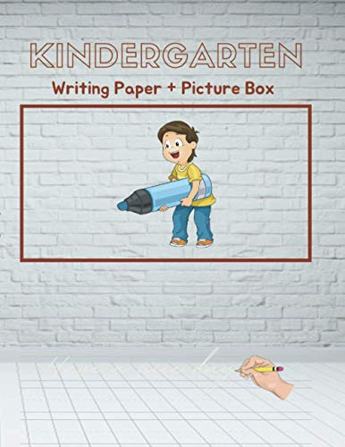 Kindergarten writing paper with Picture Box for kids, boy, girl practice the shapes and sizes of their letters, numbers and drawing, 120 pages, White ... wood floor emty room interior 3d render cover