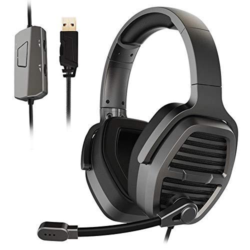 ENEN Casque de Jeu Casque Filaire USB, Microphone de réduction du Bruit de Son Surround 7.1 Contrôle de Faisceau Pratique réglable de lumière Froide RVB, adapté pour PC
