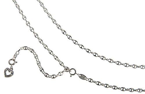 Bauchkette, Bikinikette Kaffeebohne mit Anhänger Herz weiß - Breite 3,3mm - Länge wählbar 65-110cm - echt 925 Silber