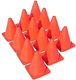 """Oojami 9 Inch Plastic Traffic Cones - 18 Pack of 9"""" Multipurpose Construction Theme Party Sports Activity Cones for Kids Outdoor and Indoor Gaming and Festive Events"""