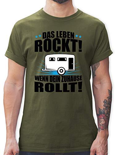Hobby - Das Leben rockt! Wohnwagen schwarz - XL - Army Grün - Hobby Wohnwagen - L190 - Tshirt Herren und Männer T-Shirts