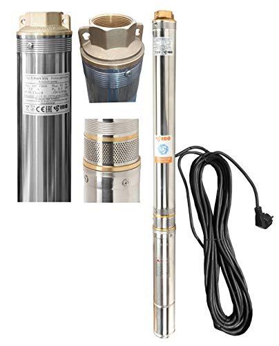 Tiefbrunnenpumpe 6300l/h 230V 0,8 kW Ø90 mm Tauchpumpe Edestahl Brunnenpumpen sandverträglich