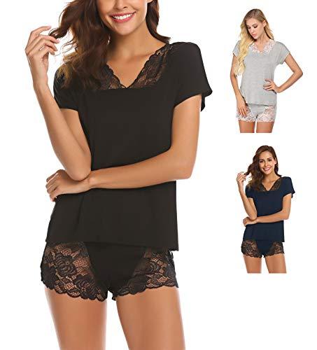 Schlafanzug Damen Kurz Nachtwäsche Pyjama Shorty mit Spitzen Süß Shirt Sexy Kurzarm Shorts für Sommer Frauen Schwarz M