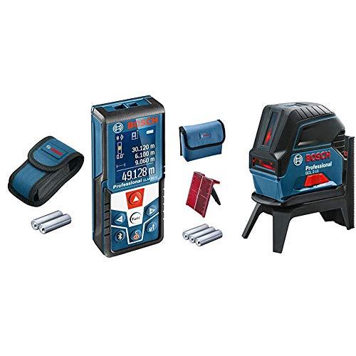 Bosch Professional Laser Entfernungsmesser GLM 50 C (max. Messbereich: 50 m, 2x 1,5-V Batterien, Schutztasche) & Kreuzlinienlaser GCL 2-15 (Arbeitsbereich: 15 m, 3x AA Batterien, Drehhalterung RM 1)