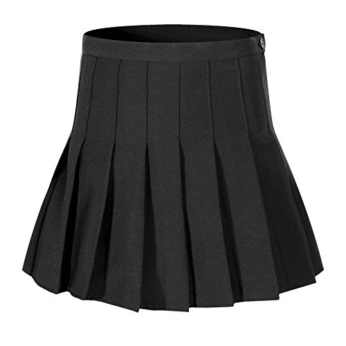 Beautifulfashionlife Women High Waist Solid Pleated Mini Slim Single Tennis Skirts (M, Black)