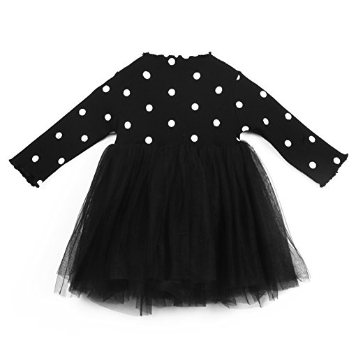 BiggerStore Kids Toddler Baby Girls Long Sleeve Polka Dots Knitted Sweater Princess Party Tutu Dress (12-18 Months, Black)