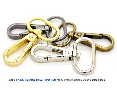 """CRAFTMEmore 3/4"""" 1"""" or 1-1/4"""" Push Gate Lobster Clasps Hooks Swivel Snap Fashion Clips Best Price Pack of 10 (Gunmetal, 3/4 Inch)"""