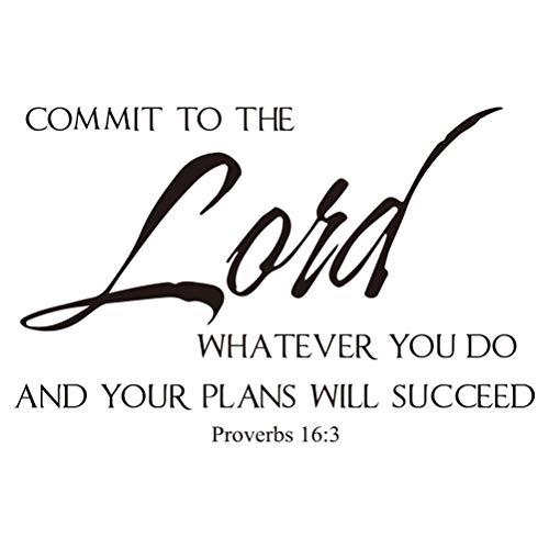 Wandtattoo Zitat Sprichwörter 16 Commit an den Herrn, was auch immer Sie Bibelvers Schrift Dekor tun