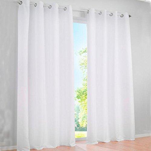 SIMPVALE - Juego de 2 Cortinas Visillos para Salón o Dormitorio, Elegantes, Ancho 140cm, Blanco, Altura 260cm