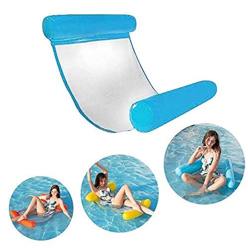 JANTEELGO Aufblasbares Schwimmbett, Ultra Bequeme wasserhängematte mit Netz, Aufblasbares Kopf & Fußteil Pool Hängematte Wasser Luftmatratze Schwimmliege Wasserliege (Blau)