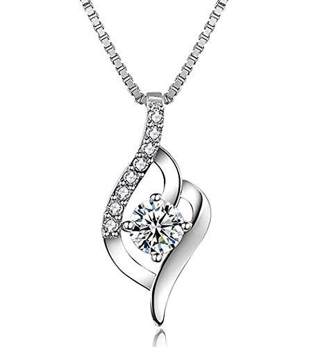 Abiguell Kette Damen Halskette - 925 Silber Anhänger Silberschmuck Zirkonia Twist 45CM Kettenlänge Geschenk für Damen