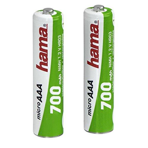 Hama Batterien Set AAA wiederaufladbar (2 leistungsstarke aufladbare NiMH Akkus mit langer Lebensdauer, für Telefone, Rauchmelder, Taschenlampen, Wecker, etc. 700 mAh, 1,2 V)