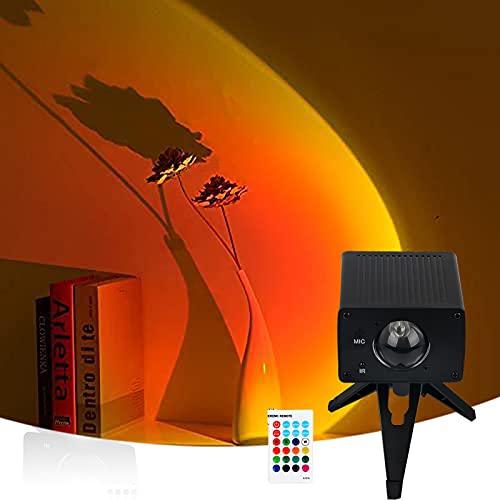 Sunset Lamp - Proyector de luces LED USB, 16 colores, arco iris, lámpara de proyección nocturna, adecuada para fondo de fotografía, dormitorio o sala de estar