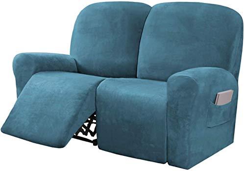 HYLDM Funda reclinable de Terciopelo elástico para sofá de Dos plazas, 6 Piezas, Fundas reclinables para sofá de 2 plazas, Fundas de Muebles para sillón reclinable con Bolsillo Lateral,