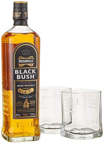 Bushmills BLACK BUSH Irish Whiskey mit Geschenkverpackung mit 2 Gläsern (1 x 0.7 l)