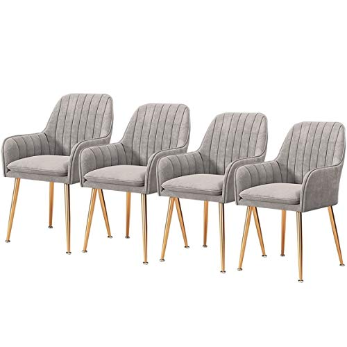 Schmink Stühle 4 X Esszimmerstühle Esszimmerstuhl Küchenstuhl Polsterstuhl Design Stuhl Mit Armlehne Mit Sitzfläche Aus Velvet Rückenlehne Gestell Aus Metall ( Color : Silver gray , Size : Gold legs )