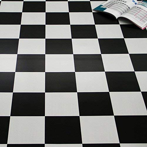 PVC Bodenbelag Schachbrett Schwarz Weiß 2,00 mm (9,90 € p. m²) (Muster DIN A4)