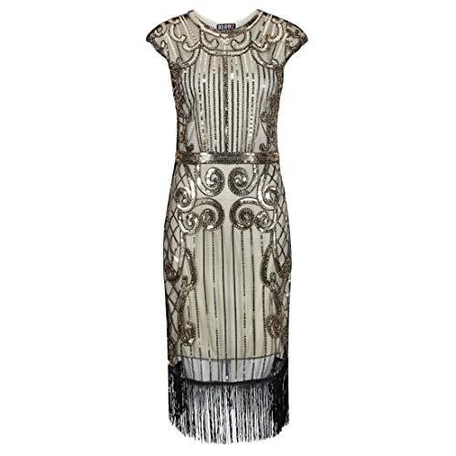Ro Rox Josephine Vestido de la Aleta 1920 Great Gatsby Peaky Blinders - Champagne (44)