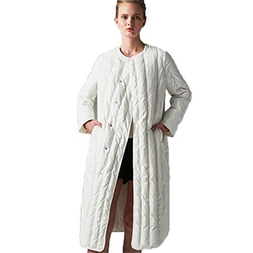 DPKDBN donsjack voor dames, brede taille, elegant, wit, eenkleurig, warm donsjack, lange eendenjas, wit, 90 dik