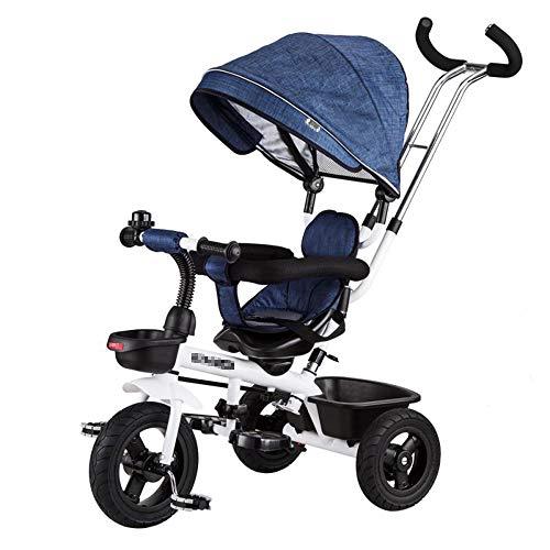 BTM 三輪車 子供用 輪車のりもの サンシェード付き コントロールバー付き キッズバイク おもちゃ乗用玩具 足けり 幼児用 軽量 プレゼント (ネイビー)