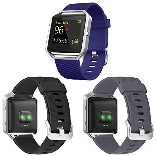 ESeekGo 3-Pack Compatible with Fitbit Blaze Bands for Men Women, Silicone Sport Band with 1 Pcs Silver Metal Frame Compatible with Fitbit Blaze Accessory Fitness Replacement Wristband