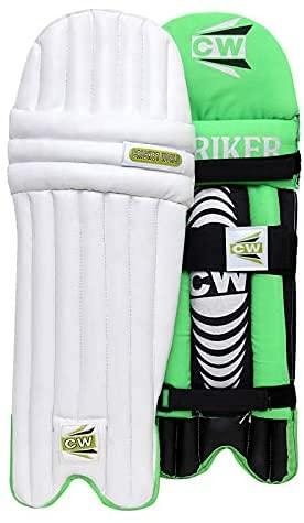 CW Striker - Almohadillas de bateo de críquet para hombres y jóvenes, tamaño completo – Junior Cricket Legguard Match Practice & Training Boys Batting Pads All Age Group (verde, niños)