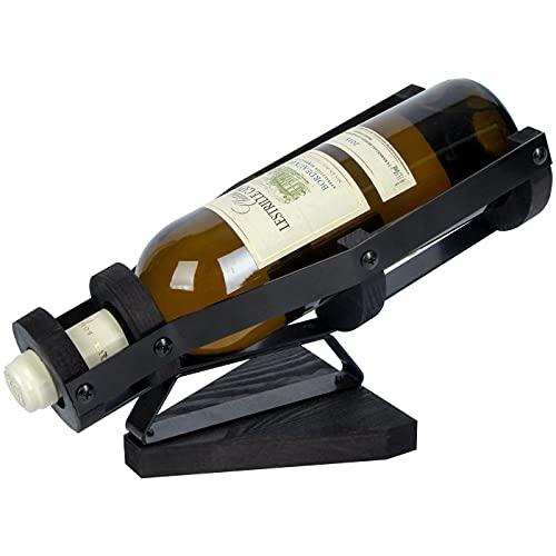 J JACKCUBE DESIGN Black Metal Wine Bottle Holder, Countertop Single Vintage Wooden Wine Rack Holder Display Stands for Home Bar Tabletop Décor Accessories- MK642A