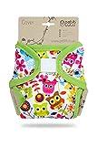Petit Lulu - Fascia per pannolini in tessuto, taglia XL (12 – 17 kg), con gancio e passante, lavabile, pannolini riutilizzabili in stoffa, prodotto in Europa (gufi appaianti)