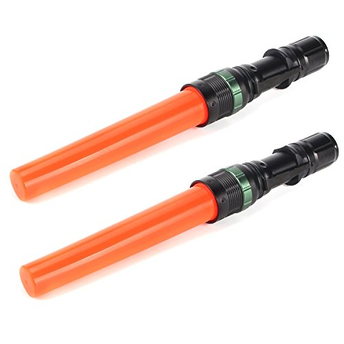 UltraFire 2pc 11-Inch Signal Traffic Wand Safty LED Flashlight 250 Lumen, Red Flashing Mode, Wrist Strap Lanyard, Side Clip, Orange Finish for Kids Outdoor Camping