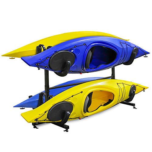 RaxGo Freestanding Kayak Rack for 4, Heavy Duty Floor Storage Holder for Four-Kayak, SUP, Canoe & Paddleboard for Indoor, Outdoor, Garage, Shed, or Dock, Adjustable Height