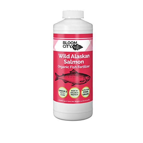 Organic Wild Fish Fertilizer and Plant Supplement, Great for Roots and Soil, Made from Sustainable Salmon, by Bloom City, Quart (32 oz)