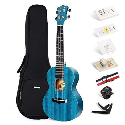 Enya Concert Ukulele 23 Inch Blue Solid Mahogany Top with Ukulele Starter Kit Includes Online Lessons, Tuner,Case, Strap, Strings, Capo, Sand Shaker, Pick,Polish Cloth (EUC-25D BU)