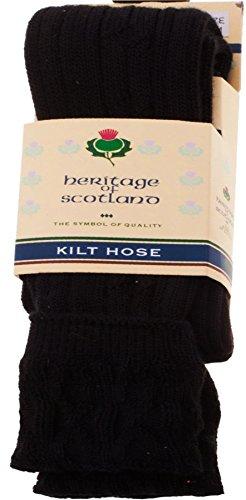 I Luv LTD Mens Kilt Hose Socks 10 Percent Wool Plain Black UK 7-11