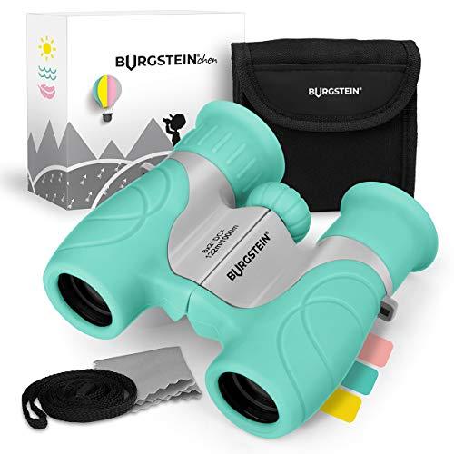 Burgstein®chen Fernglas für Kinder - Kompaktes Kinderfernglas 8x21 ab 3 Jahren, Leicht & Robust, inkl. Tasche, Reinigungstuch & Umhängeband (Ozeangrün)