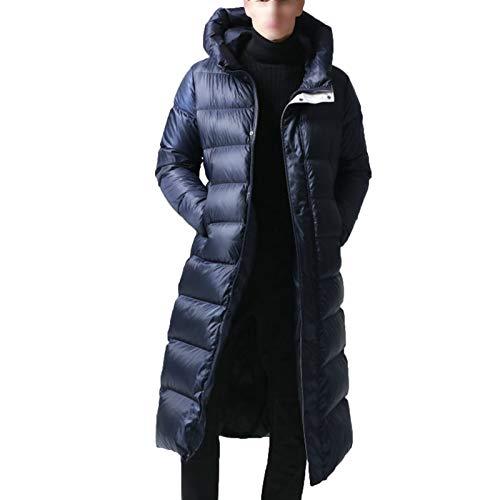 Chaqueta de plumón de ganso largo, gruesa y alargada sobre la rodilla, tallas grandes, para invierno, protección contra el frío, abrigo azul (L-4XL) azul-XL
