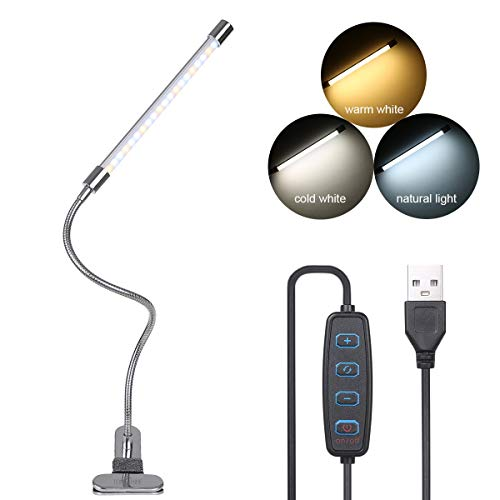 LED-Schreibtischlampe, Klemmleuchte, 10 dimmbare Helligkeit, 3 Lichtfarben, 10 W, 36 LEDs, USB-Stecker, faltbar, Schwanenhals Design mit Memory-Funktion für Wohnzimmer, Studenten, Arbeitszimmer