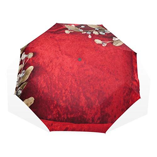 XiangHeFu Paraplu Bruiloft Uitnodigingskaart Rood Bloem 3 Vouwen Lichtgewicht Anti-UV