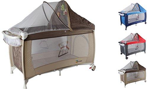 Clamaro 'Dream Traveler' Kinder Baby Reisebett (6 Farben) zusammenklappbar, höhenverstellbar, Kinderreisebett mit Einhang, Faltmatratze (2cm dick), Moskitonetz, Wickelauflage - Farbe: braun beige