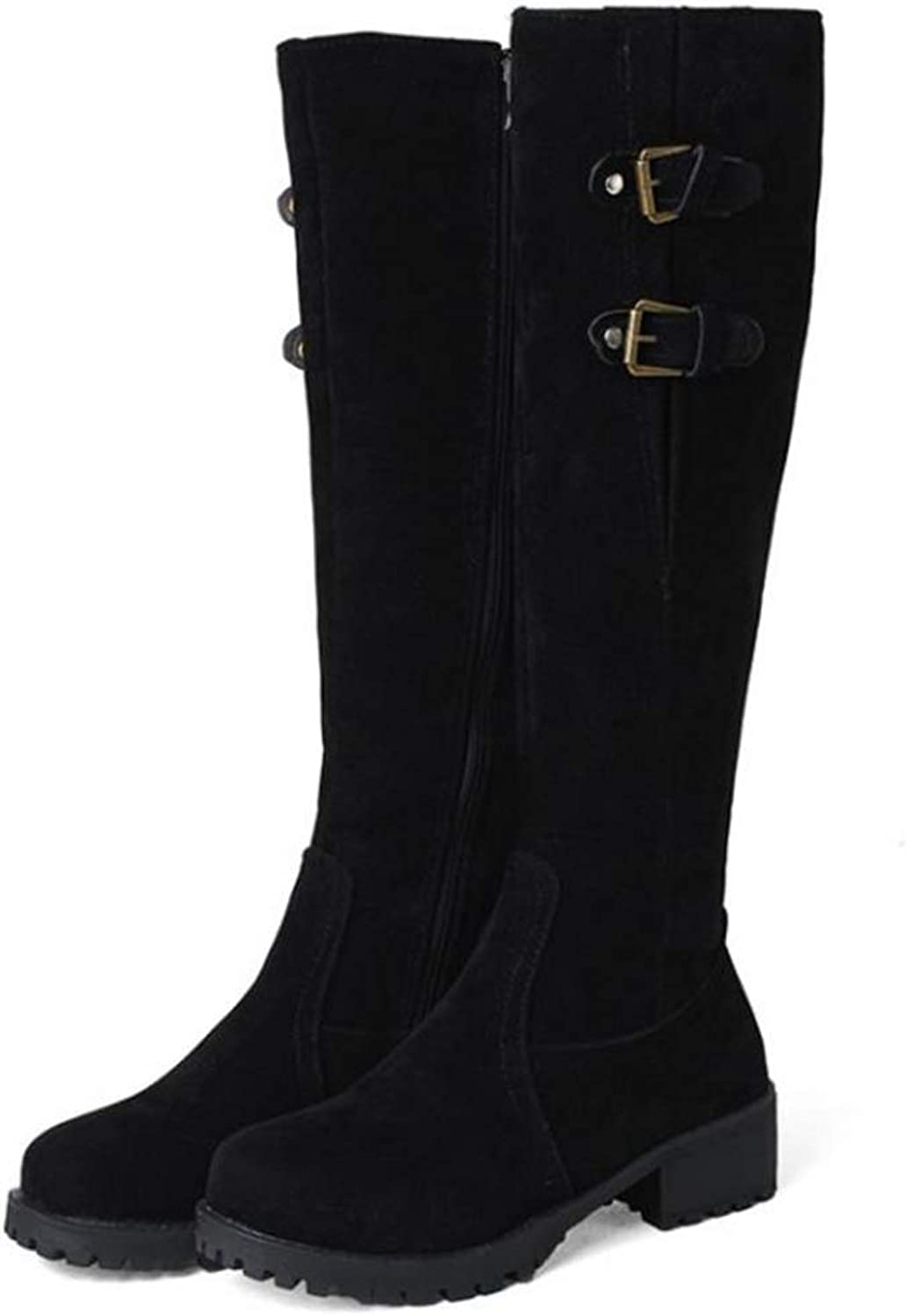 Hoxekle Women Knee-High Boots Warm Snow Boots Buckle Round Toe Mid Heel Thick Fur Zipper Winter Platform Long Boots