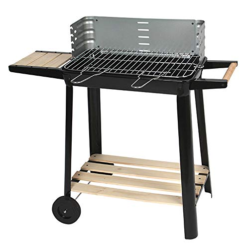 TYX-SS BBQ Barbecue Charcoal Grill, Folding Trolley Wheeled for Outdoor Garden Cooking