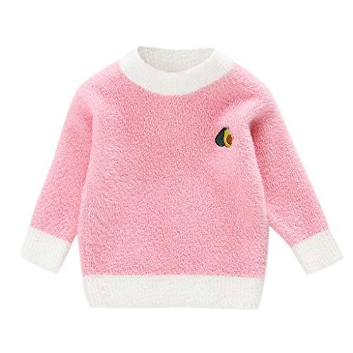 Niño Niños Bebé Niño Niña Manga Larga Sólido Patrón De Fruta De Punto Suéter Tops Otoño Invierno Cálido Tops Niños Casual Ropa Rosa rosa 3-4 Años