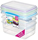 Sistema KLIP IT Food Storage Containers | 1 L | Stackable Food Prep Container with Lids | BPA-Free | Blue, Green & Purple Clips | 3 Count