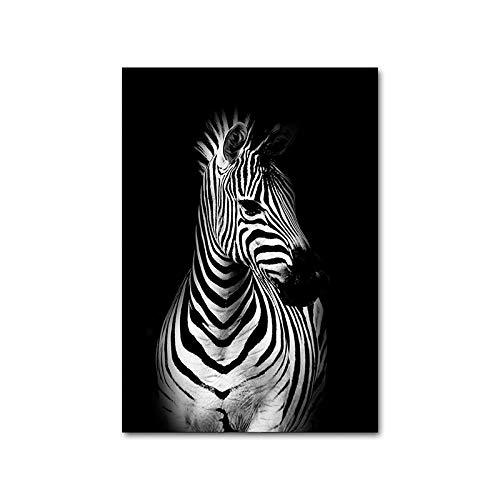 ZJMI Cuadro En Lienzo,Blanco Y Negro Avatar Imagen Abstracta De Guepardo Animal Cebra Póster Lienzo Impresión Nórdicos Pintura Mural Sala De Estar Moderna Decoración,20×30Cm Sin Marco