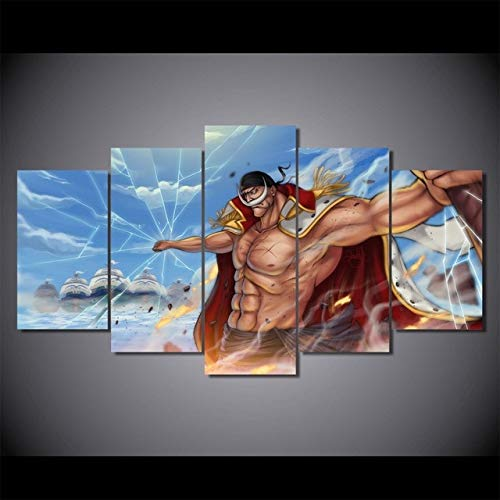 FFFZDCKAY Bilder 5-teilig Leinwandbilder Leinwand Malerei Anime One Piece Whitebeard Poster Drucke wohnkultur wandkunst Bild Rahmenlos