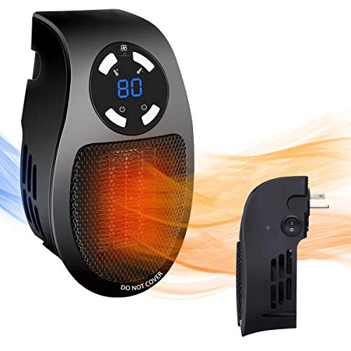 CarlCard Space Heater, 500W Wall-Outlet Space Heater with Overheat Protection, Thermostat, Timer and LED Display, Safe Quiet and Adjustable, Perfect for Office, Home, Room, ect (Black)