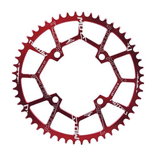 sharprepublic Starke Bike Kettenblatt Ultraleicht 40T ~ 52T 4-Bolzen 104BCD Anti-Drop Kettenblatt Fahrrad Single Kette Anti-Drop Guide Rad Reparatur - Rot 52T