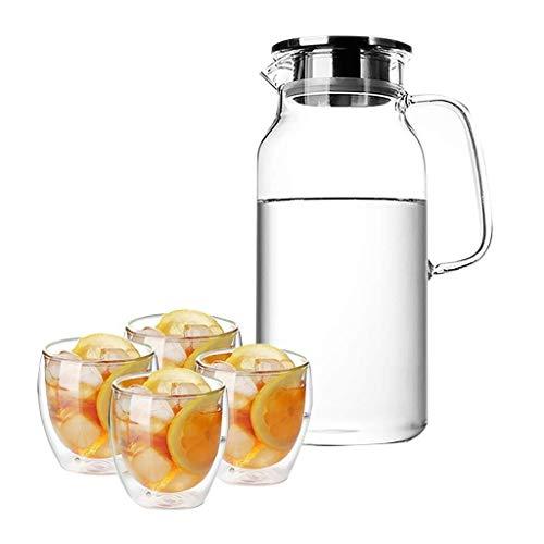 Home Fashion Glas Pitcher 1600 Ml, Ijs Theepot Gemakkelijk schoon te maken en gemakkelijk te dumpen zeer goed geschikt voor Ijs Thee Wijn Koffie Melk en Juice Drink Flessen, HC C